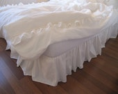 Linen Bed skirt, dust ruffle white Ivory gray pink blue linen country cottage style Queen-King-Twin XL custom bedding color bed skirt drop