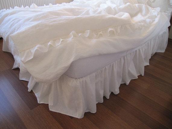 Grey Linen Bed Skirt : Items similar to linen bed skirt dust ruffle white ivory