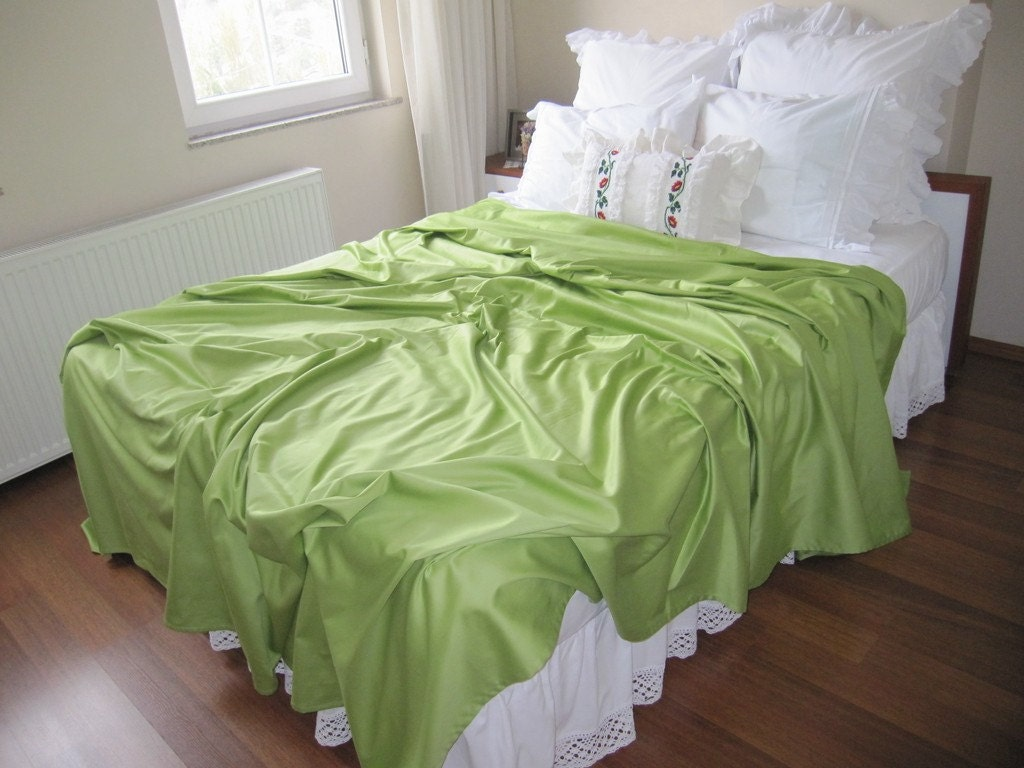 grass green queen size bed sheet flat sheet top sheet. Black Bedroom Furniture Sets. Home Design Ideas