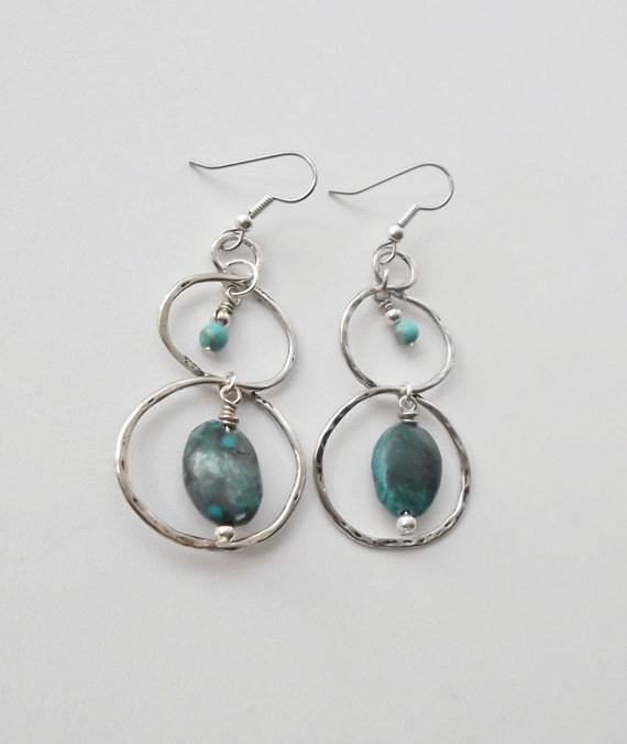 SOA Fierce Mother Hammered Double Hoop Turquoise Earrings, Free Shipping, LymeAid for Melissa