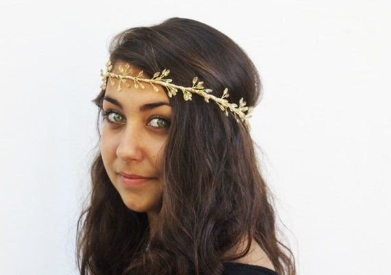 Bridal Gold Beaded Crystal Tiara - Gold Headband, Wedding Accessories, Bridal Tiara, Halo, Goddess, Circlet, Fairy, Wedding Crown, Crystal