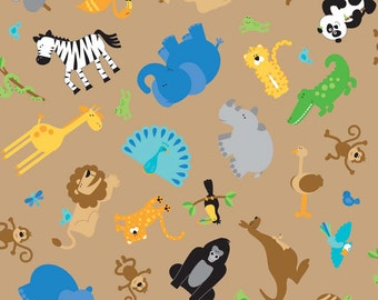 SALE 1 Yard of Zoofari Main Animals in Brown by Doodlebug Design for Riley Blake