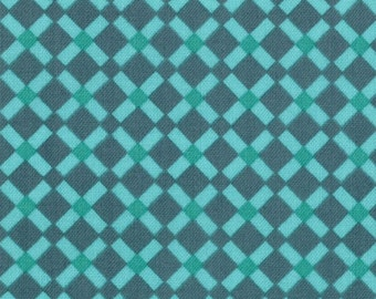 """End of Bolt 1 Yard 30.5"""" of Domestic Bliss Check Lattice in Teal by Liz Scott for Moda"""