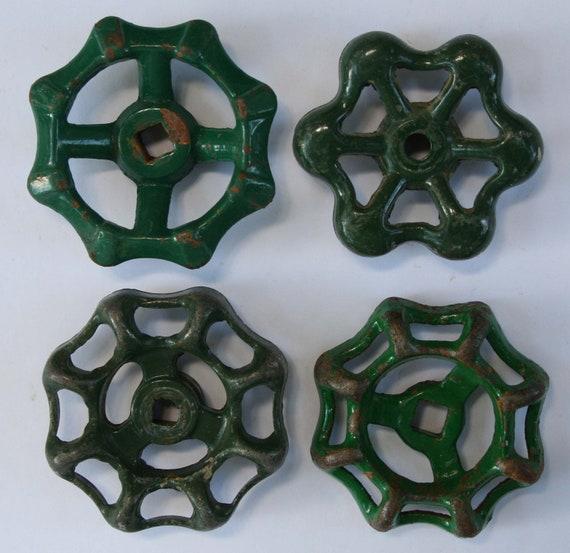 Vintage Faucet Handles 4 Green Variety-Valve Handles,Garden Spigot Handles-Water Knobs-Funky Metal Handles