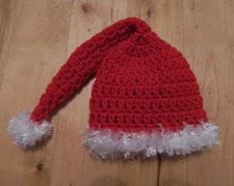 crochet santa hat newborn// red with white fuzzy trimmings