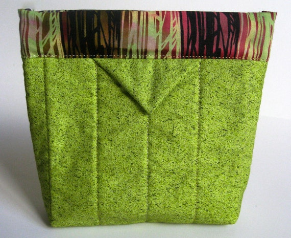 Quilted Snap Bag  Bright Green Splatter and Black Stripe