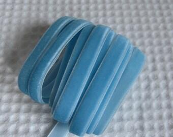 3 Yards Blue Velvet Ribbon 3/8 inch - 14