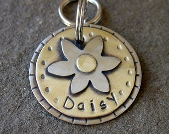 Dog Id tag- metal pet id tag for small to medium dogs- flower- floating daisy