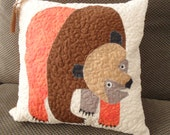Brown Bear Quilted Pillow