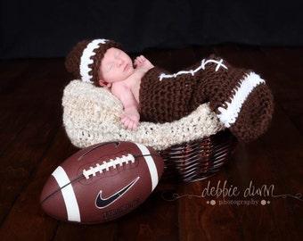 Crochet Newborn Football Cocoon Photo Prop, newborn prop