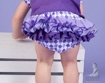 Playful Purple Ruffle Diaper Cover Ruffle Bloomer Panty Skirt