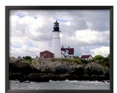 Photograph Lighthouse, Portland Head Light, Fort Williams Park, Cape Elizabeth, Maine, 20 x 16, Framed Canvas, Featured on Etsy's Front Page