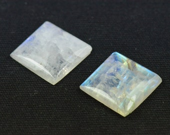Pair of 16mm square Rainbow Moonstone cabochon 16 x 4mm deep