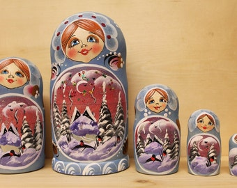 Babushka Nesting Dolls Blue Matryoshka russian stacking  dolls set of 5 Sale