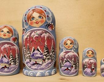 Babushka Nesting Dolls Blue Matryoshka russian stacking  dolls set of 5 Sale