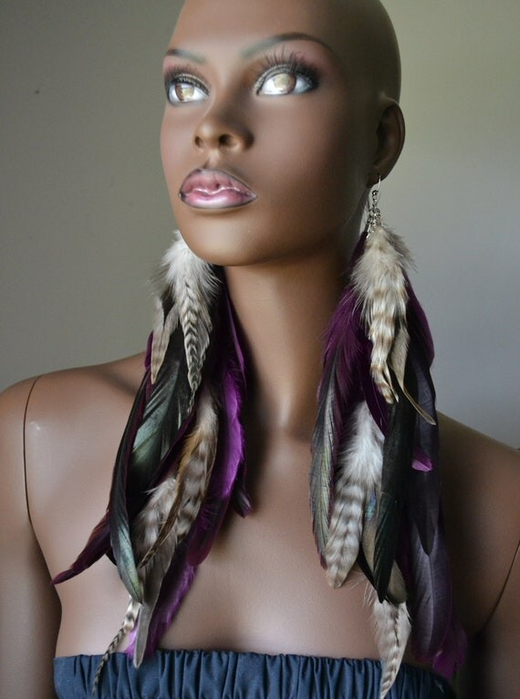 Long Purple and Grizzly Feather Earrings