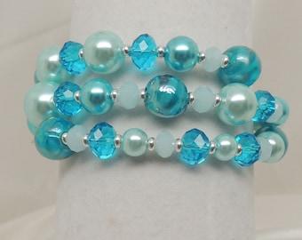 Aqua Blue Memory Wire Bracelet