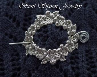 Shawl Pin,  Victorian Floral Silver Shawl Pin, Scarf Pin