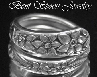 Spoon Ring, Silverware Jewelry, Narcissus 1935 upcycled, Silverware Spoon Ring Your size