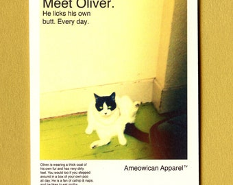 MEET OLIVER - American Apparel Spoof - Funny Card - Blank Card - Funny Card for Friend - All Occasion Card - Cat Card - Cat - Item# M059
