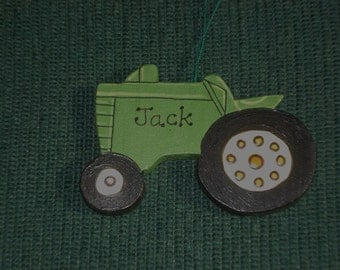 Personalized Wood Christmas Ornament - Tractor