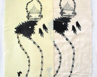 Satan Screenprint Back Patch - Metal Punk Occult - Black and White Original Artwork