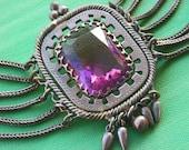 Victorian Amethyst Glass Festoon Necklace
