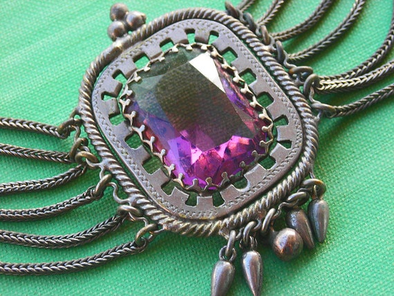 Victorian Amethyst Glass Festoon Necklace