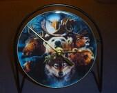 Wildlife  Recycled CD Clock Art
