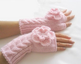 Hand Knit LIGHT  PINK ... Fingerless Gloves, Wool Mittens, Arm Warmers with cable pattern and crochet flowers, eco friendly