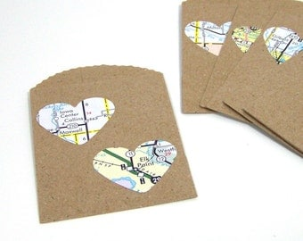 Mini Paper Gift Bags, Small Wedding Party Favors, Map Love, Recycled maps, Set of 10