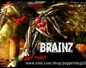 BRAINZ Zombie Poppet Doll Handmade Halloween Ornament Primitive Folk Art Scary Horror