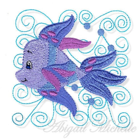 Swirly Fish Embroidery Design