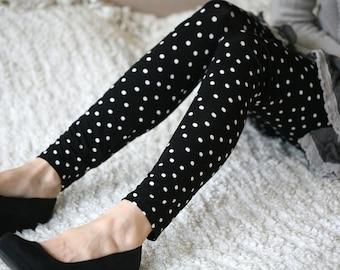 CLEARANCE SALE Black dots elastic leggings