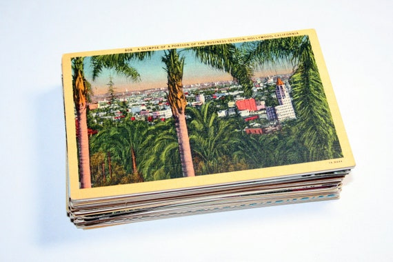 100 Vintage Southern California Postcards Blank - Wedding Guestbook
