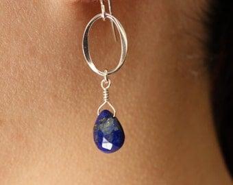 Lapis Dangle Earrings in Sterling Silver, Drop Earrings, wedding ,bridal jewelry