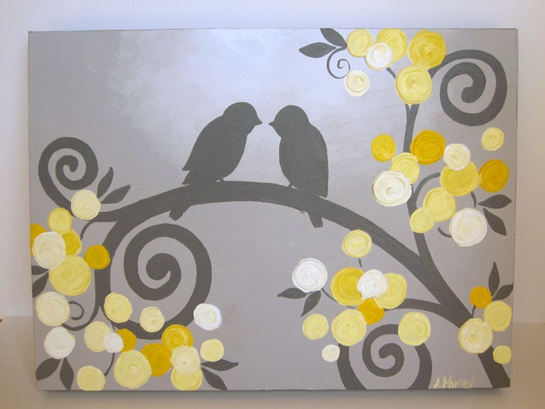 kids wall art yellow and grey textured birds by. Black Bedroom Furniture Sets. Home Design Ideas
