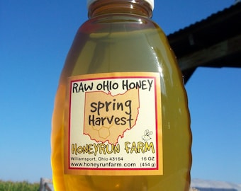 Pure Raw Spring Honey - 16 ounce jar -  nectar from Black Locust, Bush Honeysuckle, Russian Olive