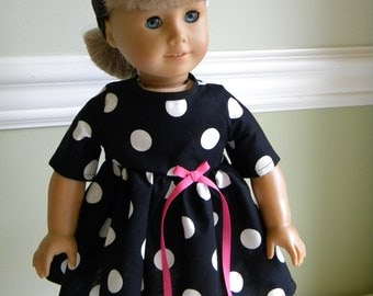 18 inch Doll Clothes fits American Girl - Black with White Polka Dot dress
