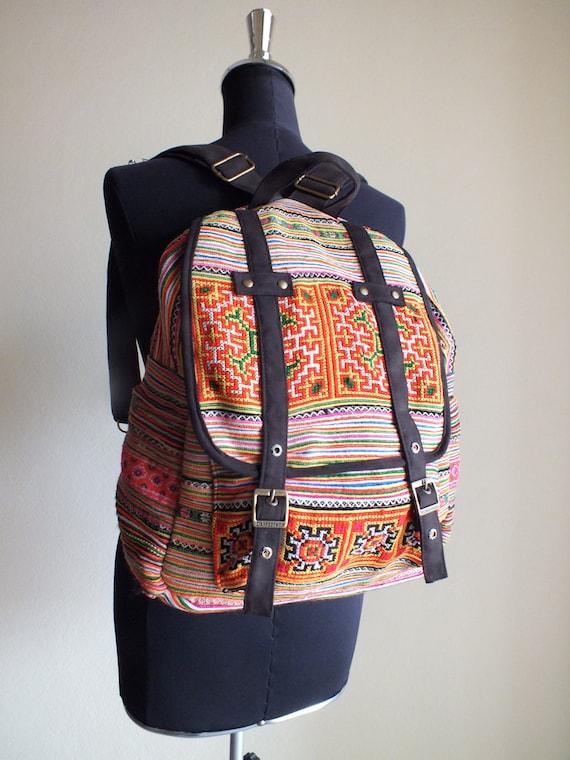 Hmong Ethnic handmade bag vintage fabric-Handbags-Thailand-backpack-rucksack