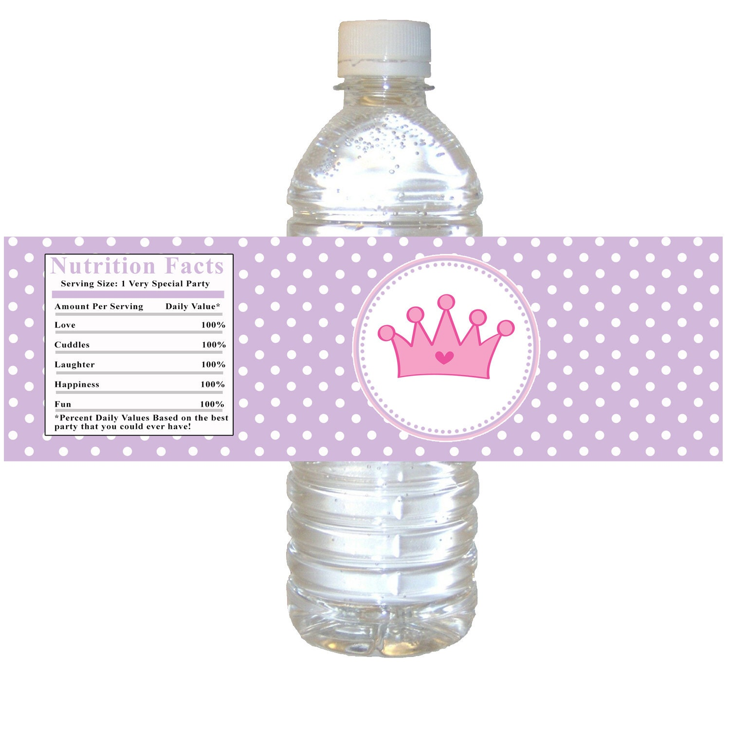 INSTANT DOWNLOAD Princess Birthday Party Water Bottle Labels