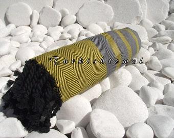Turkishtowel-Soft-Highest Quality,Pure Organic Cotton,Hand Woven,,Beach,Spa,Yoga,Travel Towel or Sarong-Yellow,Gray and  Black tassels