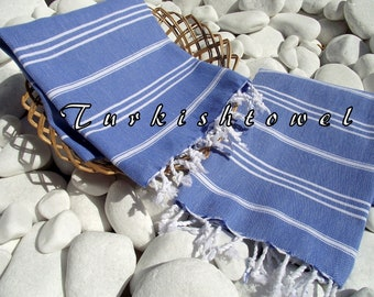 Turkishtowel-High Quality,Pure Cotton,Hand,Hair,Head,Tea,Dish,Baby,Travel Towel or Unisex Neck Warmer-White Stripes on Blue