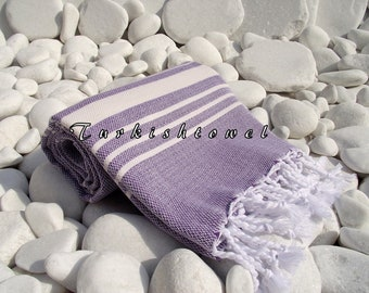 Turkishtowel-Soft-High Quality,Hand Woven,Cotton Bath,Beach,Pool,Spa,Yoga,Travel Towel or Sarong-Ivory Stripes on Pastel Lavander
