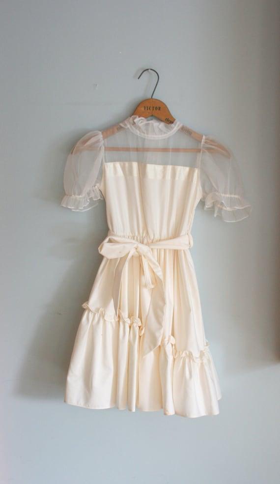 Vintage YVES SAINT LAURENT Cream Ruffles and Lace Girls Dress....size 8 10 12 girls....cinderella. fancy. princess. ruffled. sheer. lace