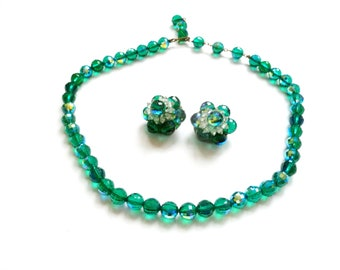 Emerald Green Crystal Necklace and Earring Set Iridescent Crystal Vintage Set