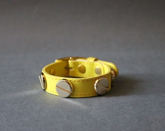 French Stud Leather Bracelet-Medium Size (YELLOW)