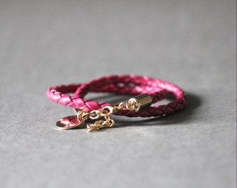 Double Wrap Braided Leather Bracelet(PINK)