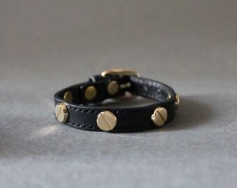 Stud Leather Bracelet(Black)