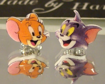 Tom and Jerry Earrings - Cartoon Nostaligia Jewelry - Cat and Mouse Jewellery